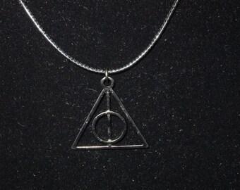 Deathly Hallows Symbol on Black Cord