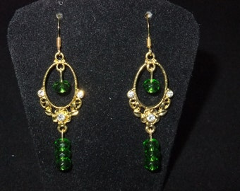 Green & Gold Chandelier Earrings