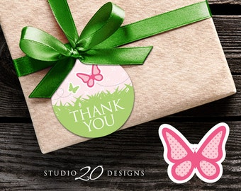 Instant Download Butterfly Gift Tags, Printable Pink Butterfly Thank You Tags, Butterfly Birthday Gift Tags, Baby Shower Favor Tags 61A
