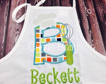 Personalized child's apron with chef's hat