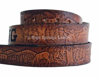 Deer Leather Name Belt
