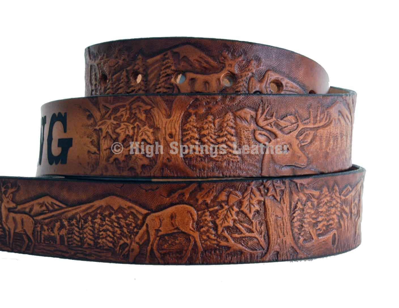 deer leather name belt by highspringsleather on etsy