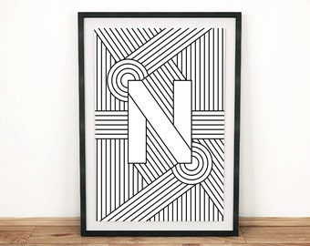 "Typography Print | Letter Print ""N"" 