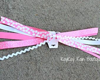 Pink and White Ponytail Streamer, Ponytail Ribbons, Ponytail Holder Ribbons, Ponytail Streamer Ribbons, Cheer Ribbons