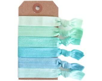 SEA GLASS Elastic Hair Ties, Ponytail Holders, Stretchy Ribbon Hair Ties, Elastic Hair Accessories, Yoga Hair Ties, Boho