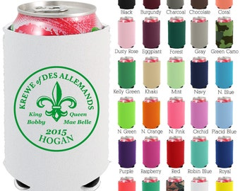 Custom Neoprene Can Coolers (1478) Fleur De Lis - Beer Can Coolers - Personalized Can Cooler - Wedding Favors