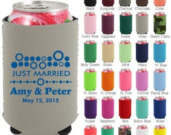 Custom Neoprene Can Coolers (1488) Just Married - Beer Can Coolers - Personalized Can Cooler - Wedding Favors