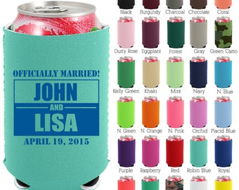 Custom Neoprene Can Cooler (1593) Officially Married - Beer Can Coolers - Personalized Can Coolers - Wedding Favors