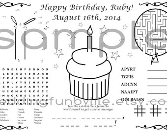 Birthday Activity Page PDF. Kids, Custom Name & Date. Coloring, Games, Maze, Favor