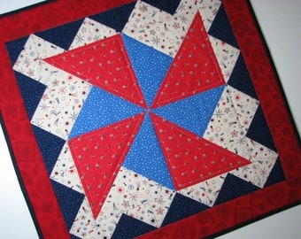 "Quilted Patriotic Table Topper, Americana Table Mat , Red White Blue Pinwheel Table Topper, 20""x20"", Quiltsy Handmade"