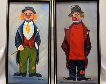 "Old '73 Clown Oil Paintings w/ Vintage Black & Gold Decor Frames 13x25"" (SIGNED)"