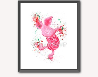 Piglet (Winne the Pooh) Art  Print Watercolor Print 8x10 10x12 12x16 16x20 A3 A2 A1 Wall Art Poster Decor