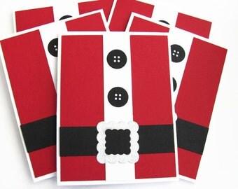 Santa Suit Christmas Card Set, Christmas Cards, Set of 5, Holiday Cards Set, Christmas Card Set, Merry Christmas Card Sets, Santa Suit Cards