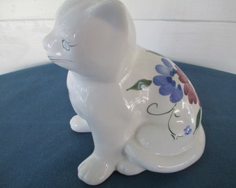 Vintage Porcelain White Kitten Cat Figurine With Flower Motif Home Decor Collectible Figurines Vintage
