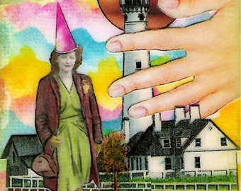 Lady of the Lighthouse - ACEO,  Watercolor, Collage, Mixed Media,  Print