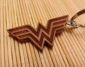 Wonder Woman Keychain, Laser Engraved, Cherry Wood