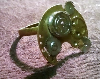 Steampunk Clock Gear Ring