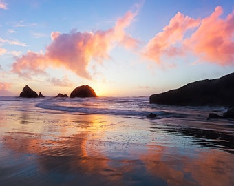 San Francisco Photo of a Beautiful Pacific Ocean Sunset along the California Coast - Picture of Pink, Red, Yellow Colors Bursting at Sunset