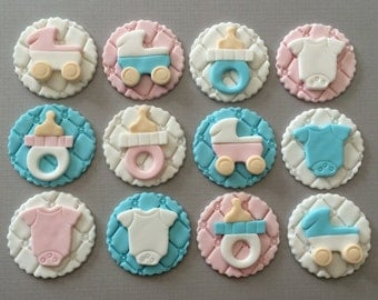 Baby Shower Cupcake Toppers | Fondant