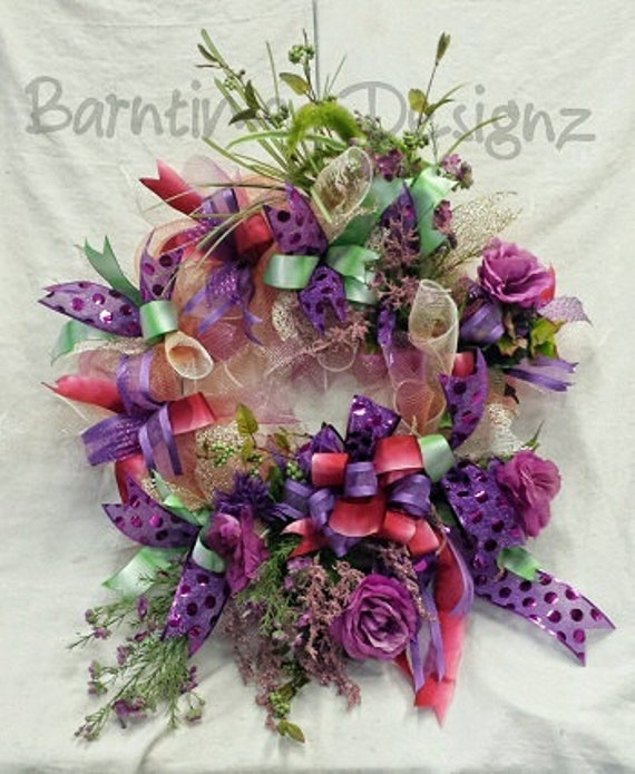 Items similar to colorful summer wreath spring wreath for Colorful summer wreaths