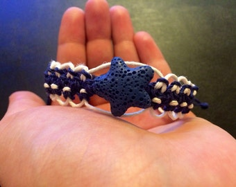 White and Blue Macrame Hemp Bracelet Interwinded with a Blue Star Charm