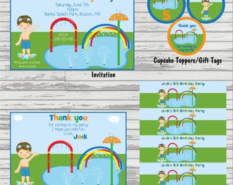 Splash Park Party Package - Invitation, Thank You, Cupcake Toppers and Water Bottle Labels.
