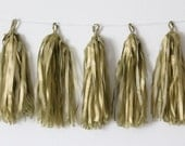 Tissue Paper Tassel Garland DIY KIT- Gold Party Decor-Shabby Chic Party Supply-Circus Party Tassels-Gold Paper Garland-Photo Prop Tassels