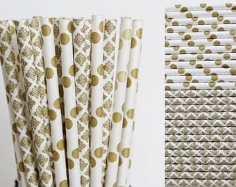 Gold Paper Straw Mix-Metallic Gold Straws-Polka Dot Straws-Damask Straws-Wedding Straws-Party Straws-Mason Jar Straws-Gold Paper Straws
