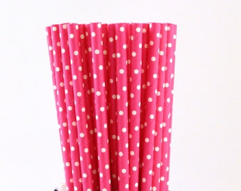 Hot Pink with Small White Polka Dot Paper Straws-Hot Pink Straws-Polka Dot Straws-Pink Straws-Party Straws-Wedding Straws-Princess Straws