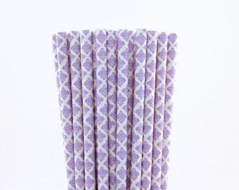 Lavender Damask Paper Straws-Lavender Straws-Damask Straws-Wedding Straws-Party Straws-Shower Straws-Mason Jar Straws-Cake Pop Sticks
