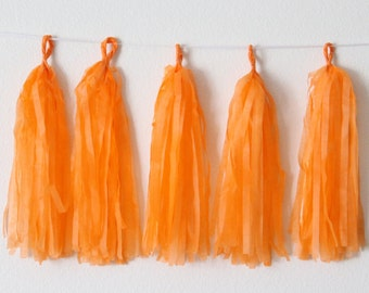 Tissue Paper Tassel Garland DIY KIT-Orange Party Decor-Halloween Party Tassels-Woodland Party Garland-Orange Paper Banner-Orange Tassels