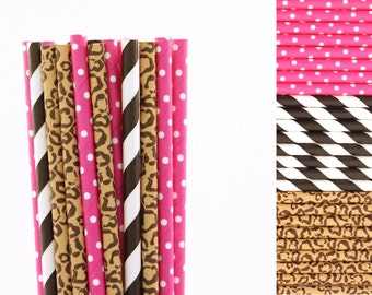 Hot Pink Cheetah Paper Straw Mix-Hot Pink Straws-Cheetah Print Straws-Black Striped Straws-Glam Party Straws-Tween Party Straws-Paper Straws
