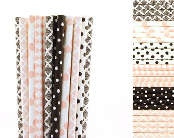 Light Pink and Black Paper Straw Mix-Light Pink Straws-Black Straws-Damask Straws-Paris Party Straws-Diamond Straws-Polka Dot Straws