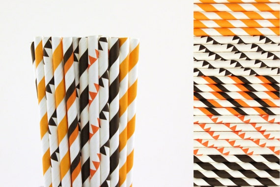 Orange And Black Paper Straw Mix Pennant Banner Straws Striped