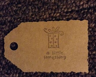 A Little Something kraft colored gift tag