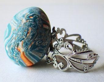 Marbled teal egg ring, adjustable statement ring