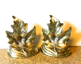 Brass Maple Leaf Bookends