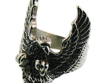 Stainless Steel Flying Eagle Ring