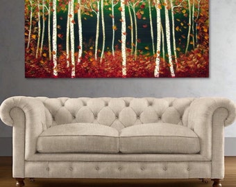 Birch Tree Painting, Aspen Tree Painting, Autumn Birch Aspen Tree Forest SALE  art by Susie Tiborcz