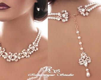 Bridal backdrop necklace ROSE GOLD crystal wedding necklace Swarovski pearl necklace vintage style statement necklace Bridal jewelry 2177RG
