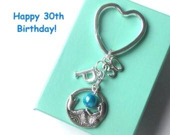 Personalised 30th birthday gift - Mermaid keychain - 30th gift - 30th keychain - Mermaid keyring with pearl - Sister gift - Friend - Aunt