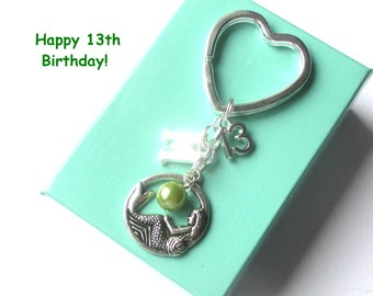 Personalised 13th birthday gift - Mermaid keychain - 13th gift - 13th keychain - Mermaid keyring with pearl - Sister gift - Friend - Cousin