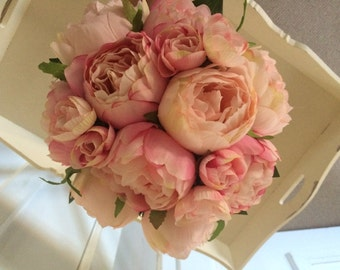 Pink vintage peony rose brides bouquet... wedding bridesmaids bouquets, beautiful crystal detail on stem & matching button holes available