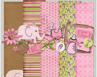 Sweetness Baby Girl Digital Scrapbooking Kit, Papers & Elements