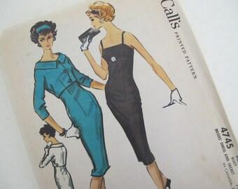 1950's McCall Pattern Sheath Dress Jacket Size 12 Secretary 4745 1958