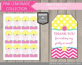 INSTANT DOWNLOAD Printable Pink Lemonade Thank You Hang Tags / Bright Pink Lemonade Collection / Item #419