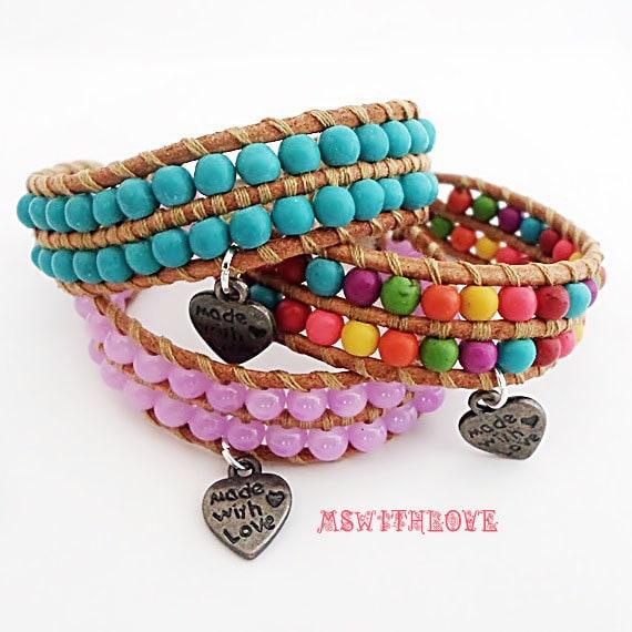 Boho baby girl bracelet handmade leather baby girl by ...