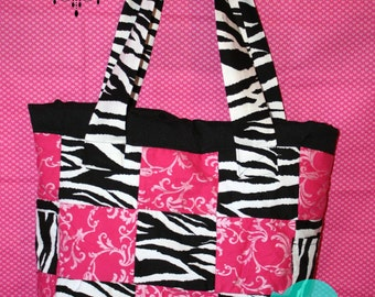 Ready to ship! Super cute zebra and hot pink diaper bag, book bag, purse with pockets