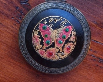 Beautiful Compact, Butterfly with Rhinestone Accents