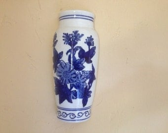 Vintage porcelain Wall pocket Pretty Blue and White floral  design- Perfect for display